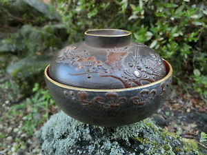Japan Antique wooden brown bowl lid plum bush warbler Wabi, Sabi and Shibui