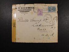 Uruguay Cover 17 Oct 1944 Montevideo Lakewood censor To NY NJ US