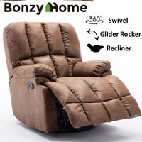 Suede Recliner Chair 360 Swivel Rocker Glider Large Overstuffed Living Room Sofa