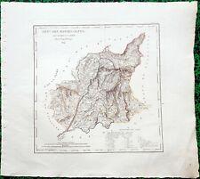 Dépt 04 - Atlas Royaume de France Rare Carte Aquarellée 45x40 cm + Texte - 1824