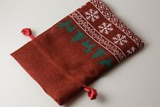 "Christmas Red Faux Linen Gift Bag Dice Bag Counter Pouch Large 4""x6"" Holidays"