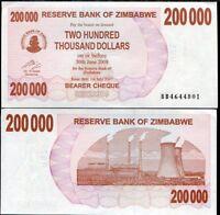 ZIMBABWE 200000 200,000 DOLLARS BEARER CHEQUE 2007 P 49 UNC