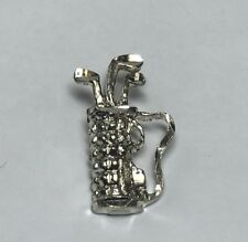 SMALL STERLING SILVER GOLF CLUBS BAG CHARM PENDANT GOLFER CADDY
