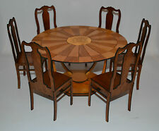 6 chairs & Table for dolls 1/6 dollhouse furniture for dolls FR, Barbie round