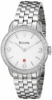 Bulova 96R183 Diamonds Bezel Women's Stainless Steel Watch - New!