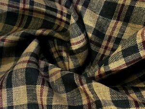 """Red Brown Plaid Burlap 100% Jute Premium Upholstery Fabric By The Yard 57"""" Wide"""