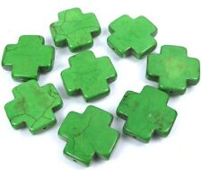 25mm Green Turquoise Cross Beads (8 pcs)