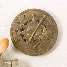 Sun and Moon Garden Thermometer Clock Outdoor Indoor Wall Kitchen Gift 30cm