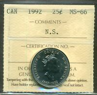 1992 Canada 25 cent Nova Scotia ICCS MS 66