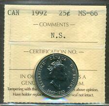 1992 Canada 25 cent Nova Scotia ICCS MS 66