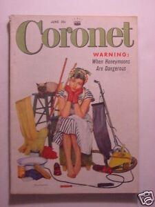 CORONET June 1954 JOSE FERRER CARTOONISTS COMIC ARTISTS ZANE GREY BASEBALL +++