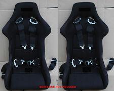 HONDA EF 2x 4 POINT CAMLOCK RACING SAFETY SEAT BELT 2' BLACK STRAP NYLON HARNESS