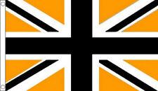 BLACK and GOLD UNION JACK FLAG 5' x 3' UJ UK Amber Yellow Orange Flags
