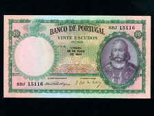 Portugal:P-153a,20 Escudos 1954 * D. Antonio Luiz de Menezes * UNC *