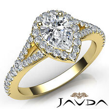 Shiny Pear Diamond Halo Pre-Set Engagement Ring Gia E Vs1 18k Yellow Gold 1.22Ct