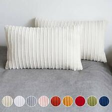 UGASA Velvet Lumbar Throw Pillow Cover, Both Sides Corduroy Striped, Soft Solid