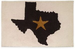 Avanti Lone Star State Texas Bath Rug Ivory & Black Rectangular Bathroom Mat NEW