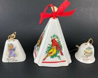 VTG Ceramic Christmas Tree Ornament One Fragrance Holder And Two Bells