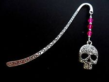 A TIBETAN SILVER & PINK CRYSTAL BEAD  ENGRAVED  SKULL CHARM BOOKMARK. NEW.