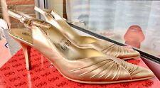 Yessica High Heel Stiletto Gold Sling sehr schimmernd 39    NEU + Kette