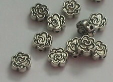 Antique silver pewter 7mm carved flower spacer beads -- 100 pieces (47020)