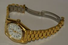 NOS CYMA 02-0023-003 2834-2 GOLD PLATED SKELETON SWISS DAY DATE AUTOMATIC WATCH