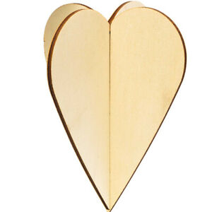2 Large Natural Wooden Hanging 3D Hearts - Use Plain or Decorate