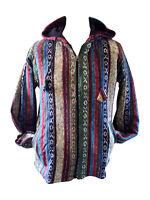 Brushed Cotton Stripe Nepal Jacket Hoodie Coat Fleece Lined Hippy Festival