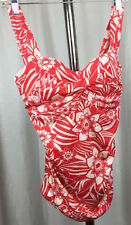 Eddie Bauer Womens Coral Color White Floral Tankini Top Size 8