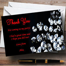 Black Red Diamond Personalised Party Thank You Cards
