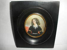 Antique Joseph Stieler  Lola Montez  portrait miniature oil painting