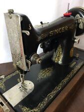 *SERVICED* Heavy Duty Vtg Singer Portable Sewing Machine Denim Leather 99k 1932