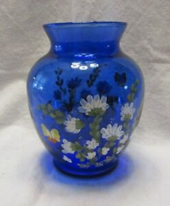 COBALT BLUE ART GLASS HAND PAINTED LARGE VASE FLOWERS AND BUTTERFLY`S