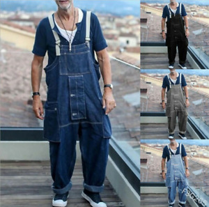 Men's Overalls Casual Loose Jeans Trousers Casualmul Ti-Pocket Denim Pants New