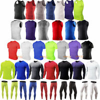 Mens Compression Gym Sport Jogger Base Layer T-Shirt Tops Vest Shorts Long Pants