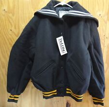DELONG VARSITY / CHEER JACKET BLACK / YELLOW & WHITE  - MADE IN USA - SMALL