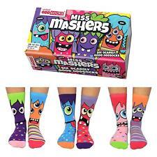 United Oddsocks Miss Mashers Mismatched Set Of 6 Girls UK 12-5.5 Odd Socks Gift