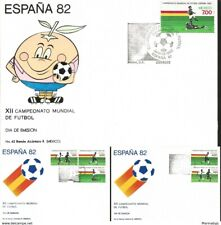 J) 1982 MEXICO, XII FOOTBALL WORLD CHAMPIONSHIP, SPAIN, NARANJITO, SET OF 3 FDC