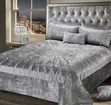 Crushed Velvet Premium Bedding Collection Silver Grey Diamante Starburst