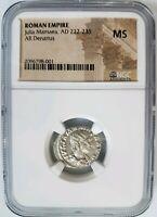 Julia Mamaea Roman Empire NGC MS AD 222-235 AR Denarius Silver Ancient Bird