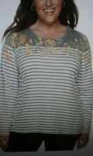 CROFT & BARROW Plus 3X Top Women's Gray Floral Stripe Long Sleeve NEW!