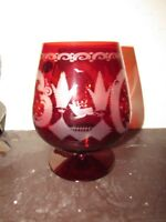 Vintage  RED LARGE SNIFTER Hock CUT TO CLEAR GLASS Bohemia Czechoslovakia,SIGNED