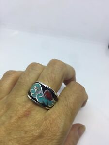 Vintage Silver White Bronze Men's Black Hawk Turquoise Inlay Ring Size 12