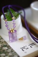 Oil Diffuser Handmade Pendent Necklace Perfume Amethyst Crystal Glass Bottle