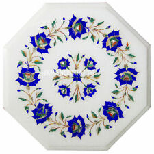 """12""""x12"""" Octagon Design White Marble Table Top Inlay Floral Design Work"""
