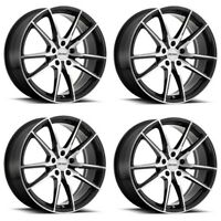"Set 4 17"" Petrol P0A 17x8 Gloss Black w/ Machine Cut Face 5x112 Wheels 32mm Rims"