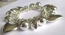 bracelet gourmette bijou couleur argent pampilles cœurs perles 291