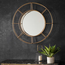 Thorne Large Industrial Gold Metal Frame Round Antique Style Wall Mirror - 82cm
