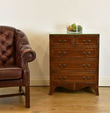 GEORGIAN STYLE MAHOGANY INLAID SMALL CHEST OF FIVE DRAWERS