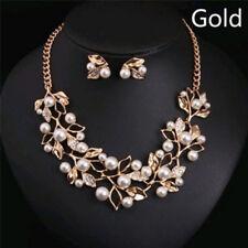 Pearls Crystal Tree Leaves Necklace Earring Elegant Ladies Luxury Jewelry Set5t Gold